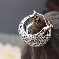 court jewelry wholesale handmade silver small ear ring anti allergy 925 sterling silver hollow pattern retro Earrings