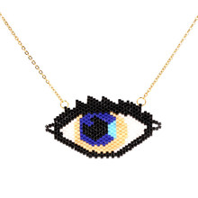 Trendy Devil's Eye Women Necklace MUYIKI Beads Handmade Weave Stainless Steel Chain Choker Necklaces Charm Female Jewelry Bijoux(China)