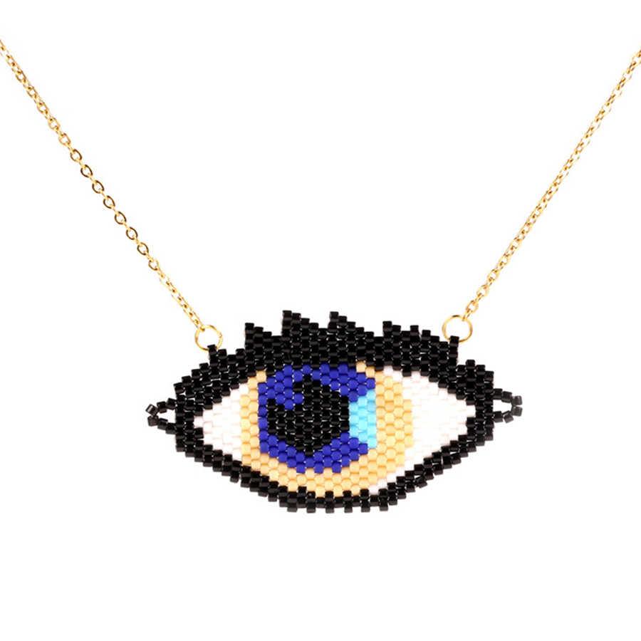 Trendy Devil's Eye Women Necklace MUYIKI Beads Handmade Weave Stainless Steel Chain Choker Necklaces Charm Female Jewelry Bijoux