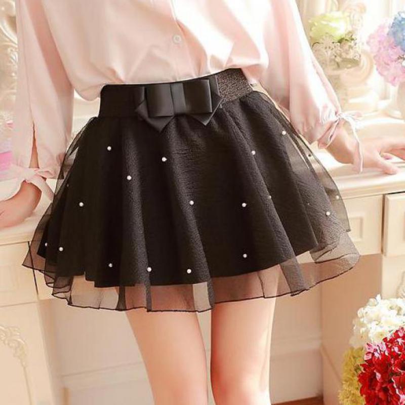 Zuolunouba Summer Fashion Casual Women Skirt Stitching Beading Tassel Mesh Harajuku Wild A-line Slim Female Bow Mini Puff Skirt