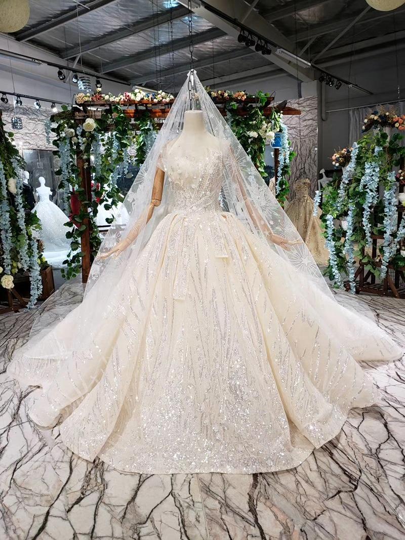HTL388 boda special strapless wedding dress with wedding veil sleeveless sexy princess bridal dresses shiny robe de mariage 2019 (1)