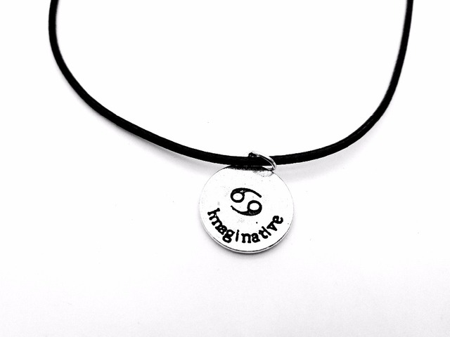 7d38dd1a0 30PCS Zodiac Cancer Necklace Signs 12 Constellation Rope Necklace Horoscope  Disc Crab Imaginative Letter Leather Necklaces