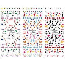 3PCS/LOT NAIL ART TATTOOS STICKER WATER SLIDER DECAL FULL COVER CAT KITTEN PUSSY BUTTERFLY KNOT BOW TIE PAW HOT94-96