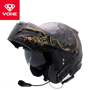 2019 Autumn Winter YOHE Flip Up Motorcycle Helmets YH953 Open Face Motorbike Helemt with V3 Bluetooth made of ABS PC lens Visor