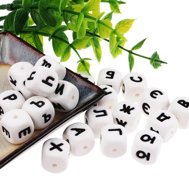 Фото tyryhu 10 шт русский алфавит 33 буквы бусины кубики силиконовые цена