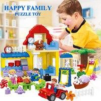 Счастливая семья с куклами большие строительные блоки Детская подарок Совместимость Legos модель игрушки для детей HM072