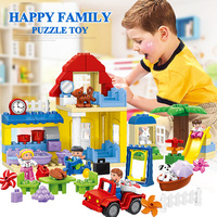 Happy Family With Dolls Large Building Blocks Children's Gift Compatible Legos Model Toys For Kids HM072