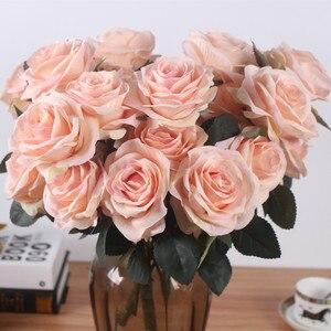 Image 4 - Yapay ipek 1 demet fransız gül çiçek buketi sahte çiçek yerleşim tablosu papatya düğün çiçekler dekor parti aksesuarı Flores