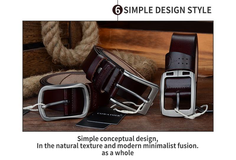 حزام COWATHER جلد طبيعي للرجال 16