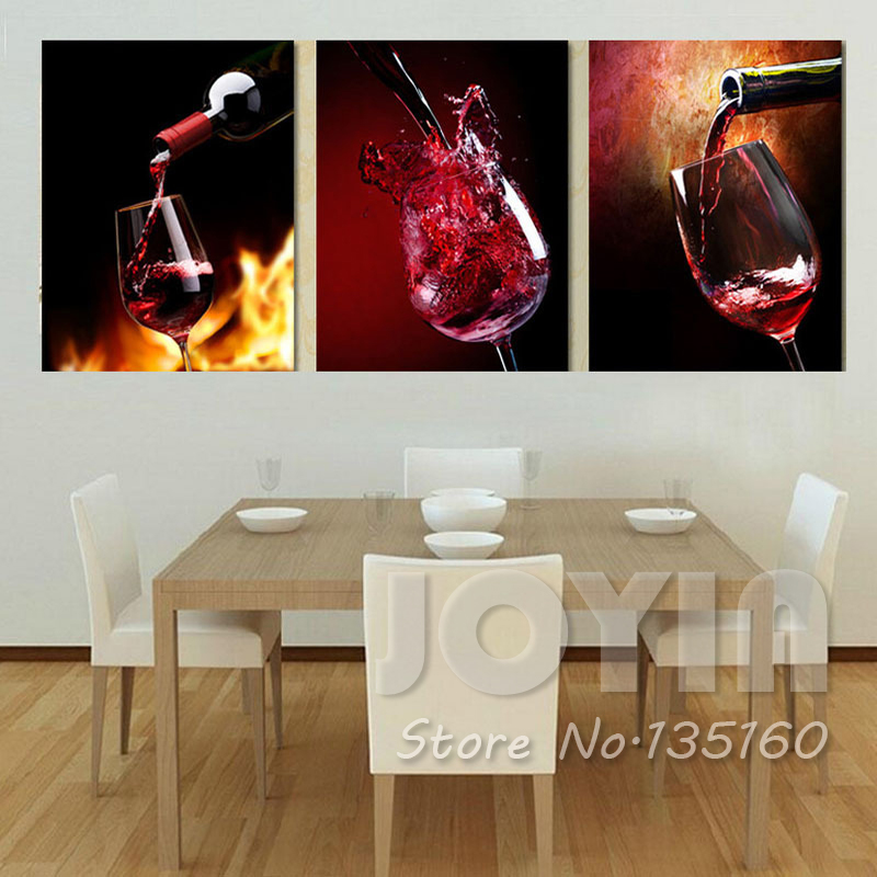 unidades modernas vins lienzo pinturas pared de la botella de taza de vino tinto arte