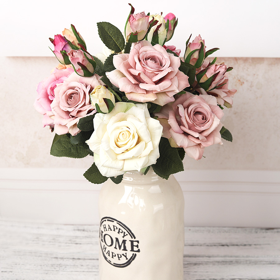NEW beautiful big rose branch artificial silk flowers home wedding decoration retro autumn large roses white fake flowers decor