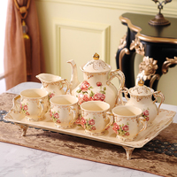 European style ceramics, family coffee cup set, American modern brief tray, coffee set, afternoon tea set
