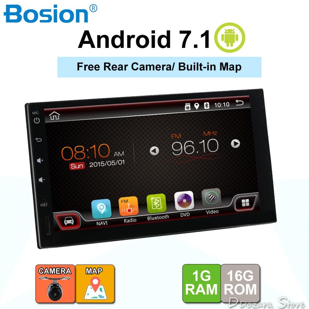Android 7.1 voiture radio bluetooth gps navigation pour universel 2 din 1024*600 cassette lecteur véhicule avec wifi, usb, sd, obd, dab