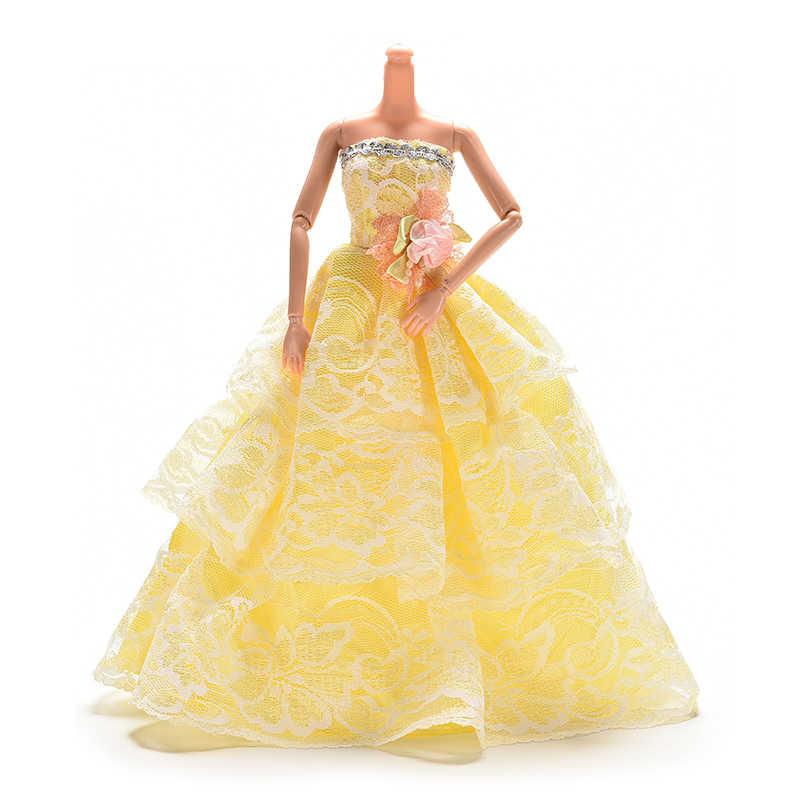 צהוב חתונה שמלת נסיכת ערב מסיבת כדור ארוך שמלת חצאית כלה רעלה תלבושות לבגדי אביזרי חג המולד מתנת צעצוע