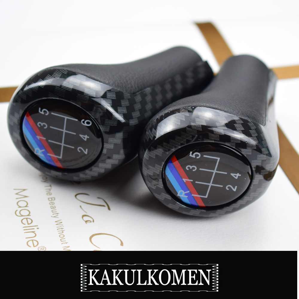 Gift Carbon 5 6 Speed Gear Shift Knob Shifter Handle For BMW 1 3 5 6 Series E30 E32 E34 E36 E38 E39 E46 E53 E60 E63 E83 E84 E87