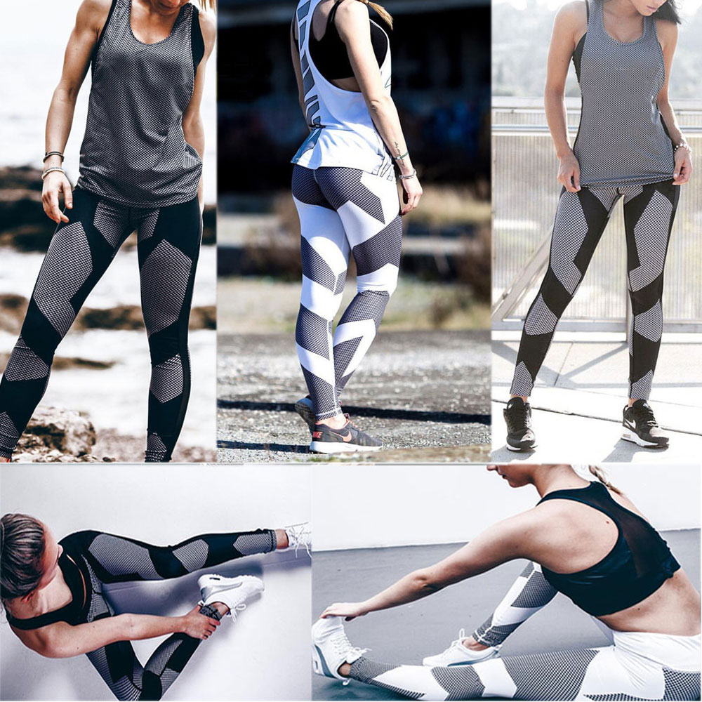 Stretchy Hight Waist Gym Sportswear Elastic Sport Leggings Fitness For Women Tghts Slim Running Yoga Pants calsas de deportivas fashionable sporty stretchy print ankle yoga pants for women