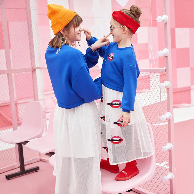 2019 moda Primavera família roupas combinando bordados lábios vermelhos moletons + saias mãe e filha duas peças - 5