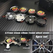 купить 4x Grey Black 135mm 56MM 60mm 64mm Car Wheel hub caps Auto decals for Abarth 124 125 500 Badge Emblem covers Auto accessories по цене 362.33 рублей
