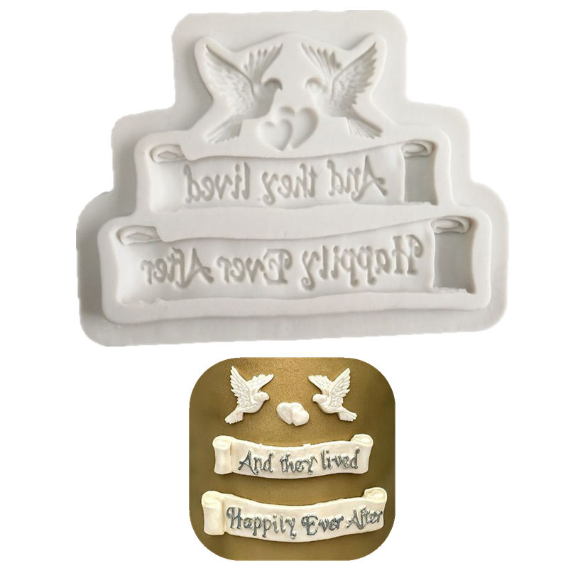 'happily ever after' Pigeon Fondant Cake Silicone Mold Chocolate Candy Molds Cookies Pastry Biscuits Mould DIY Cake Baking Tools image
