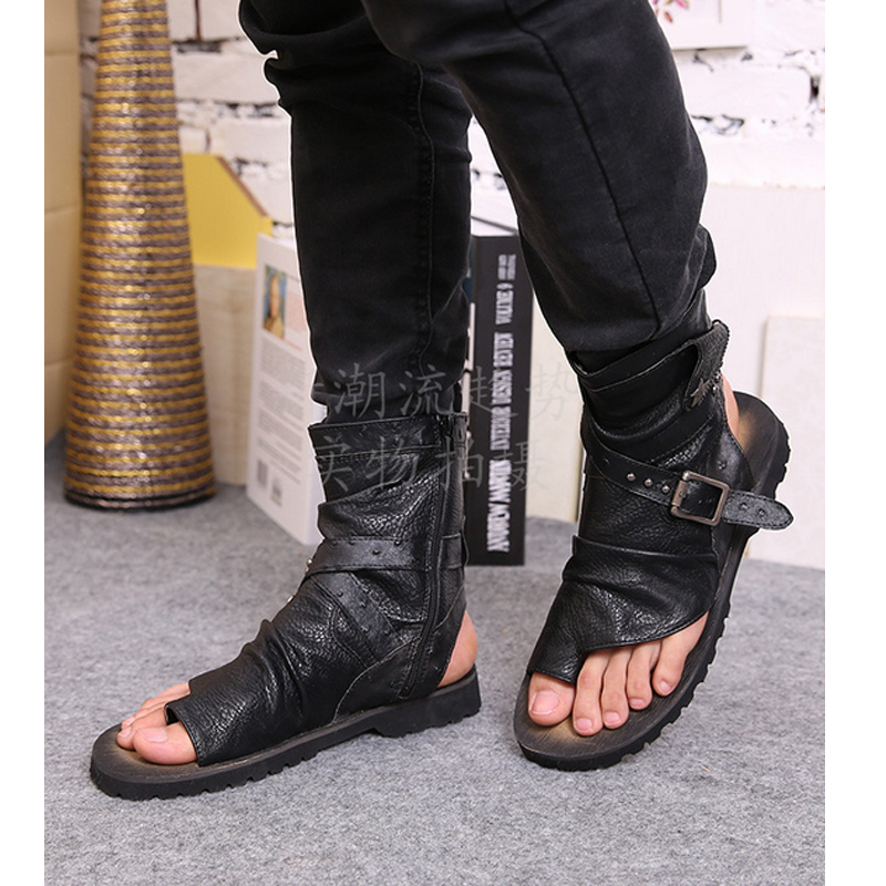 Men/'s Leather High Top Boot Buckle Roman Gladiator Sandals Flat Open Toe Lace Up