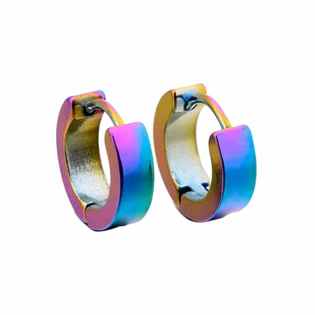 1PC シングルファッションジュエリー耳カフな男性パンク小円スタッドピアス耳のクリップバックル女性のための合金