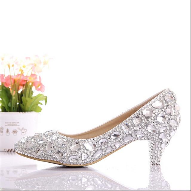 Superieur Free Shipping 2015 New Silver Low Heel Wedding Shoes Handmade Rhinestone  Elegant Bridal Shoes Suitable Wedding