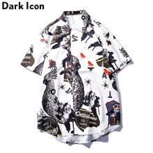8a9e4af23ff Dark Icon Front Pocket Printed Hip Hop Shirt Men Short Sleeve Men's Shirt  2019 Summer Men