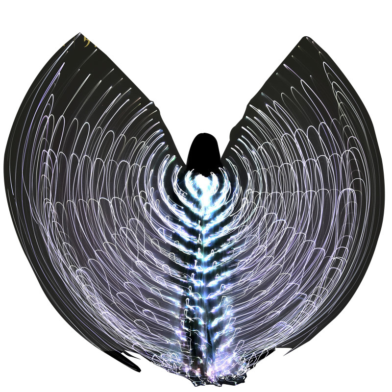 Hot LED Light Wings 360 Degree 140cm Belly Dance Glowing Wings For Women Ballroom Dance Dress with Retractable stick цены