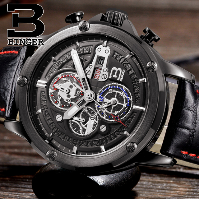 Mens Watches Top Brand Luxury Chronograph Sports Switzerland BINGER Luminous Watches Men Quartz Military Watch Waterproof  2017
