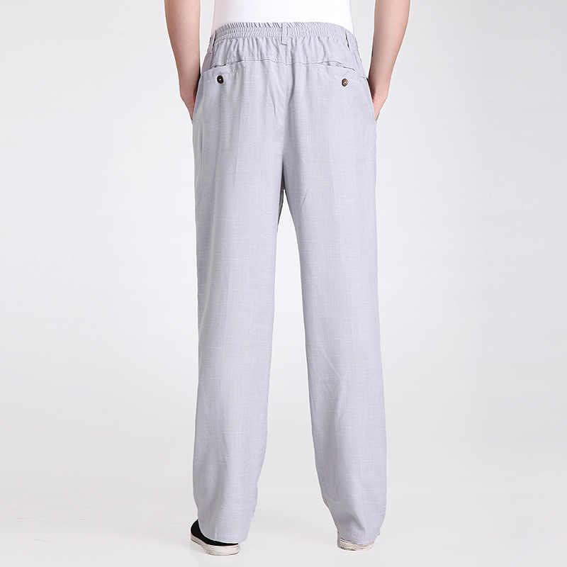 新到着グレー中国の男子カンフーズボン綿リネンズボンの服のサイズ SML XL XXL XXXL 2350