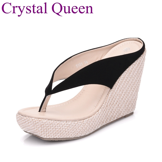 56c64bbad8e7 Well known Crystal Queen Wedges Shoes Sandals New Women High Heels Flip  Flops IT03