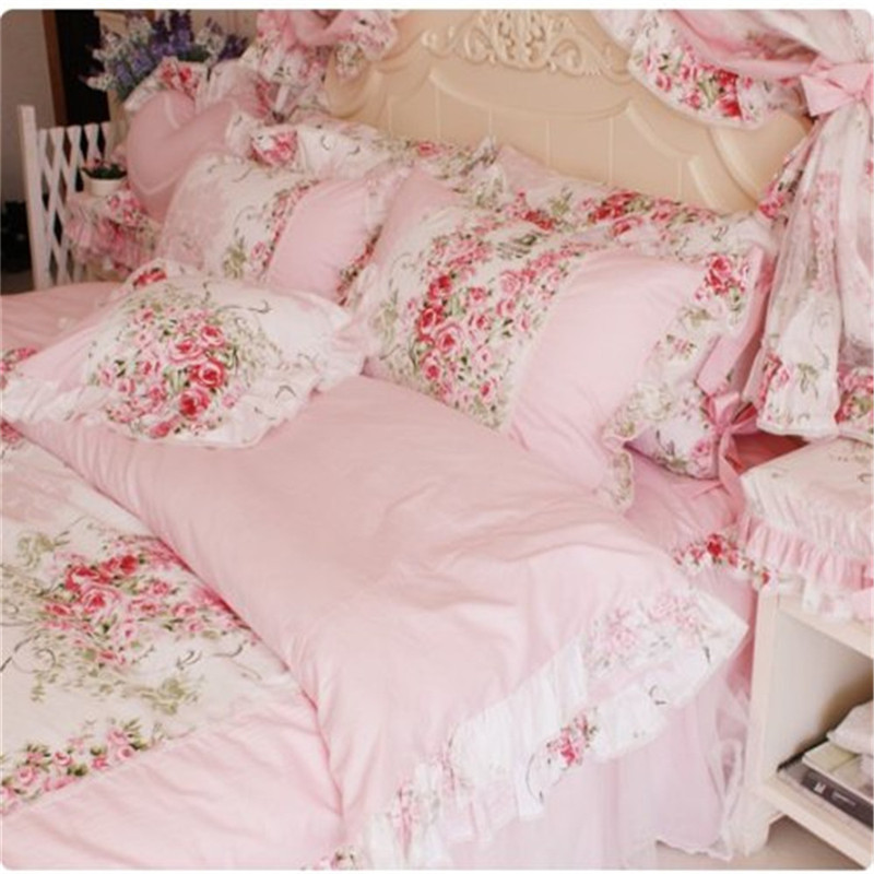 12eef1ea962a FADFAY Home Textile Sanding Cotton Pink Rose Floral Print Duvet Cover Set  Bedding Sets For Girls 4pcs Queen King Size Bed Sets-in Bedding Sets from  Home ...