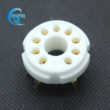 Free Shipping 10PCS B9D  new 9-pin gold tube sockets ceramic base suitable for El504/El519