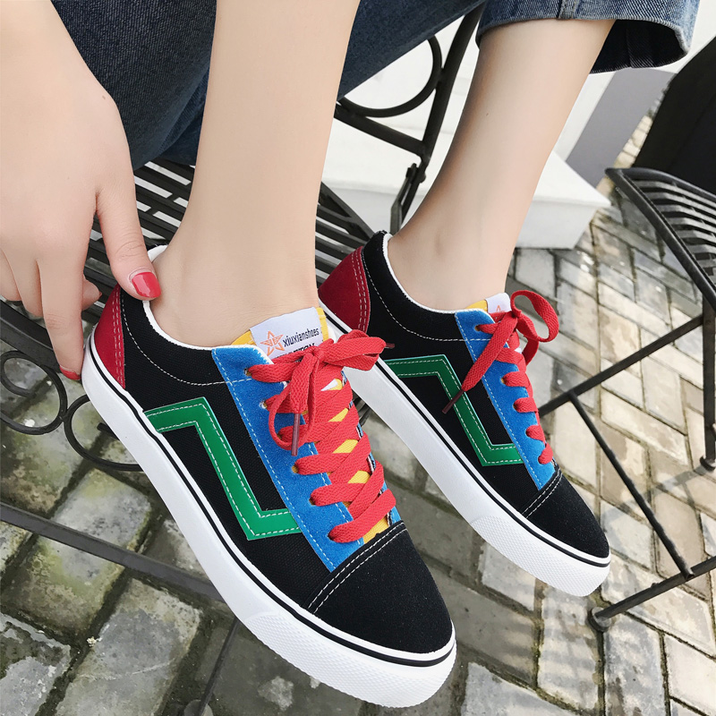 Women Vulcanize Shoes Flat Fashion Canvas Shoes Women Sneakers Casual Unisex Students Breathable Walking Shoes