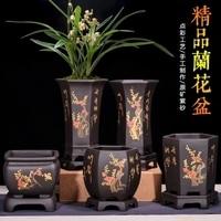 Fine Purple Sand Flowerpot Chinese style Black Point Color Orchid ZiSha Square Basin indoor desktop balcony Ceramic flower pot