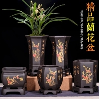 Fine Purple Sand Flowerpot Chinese style Black Point Color Orchid ZiSha Square Basin indoor desktop balcony Ceramic flower pot