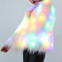 Liva girl Luminous LED Winter Sweater Skin Artifical Christmas HalloweenCoat Dance Show Night Plus Size Fur Coat Outwear