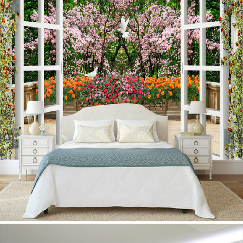 3D large garden window mural wall painting living room bedroom 3D wallpaper TV backdrop stereoscopic 3D wallpaper pink romantic sakura reflection large mural wallpaper living room bedroom wallpaper painting tv backdrop 3d wallpaper