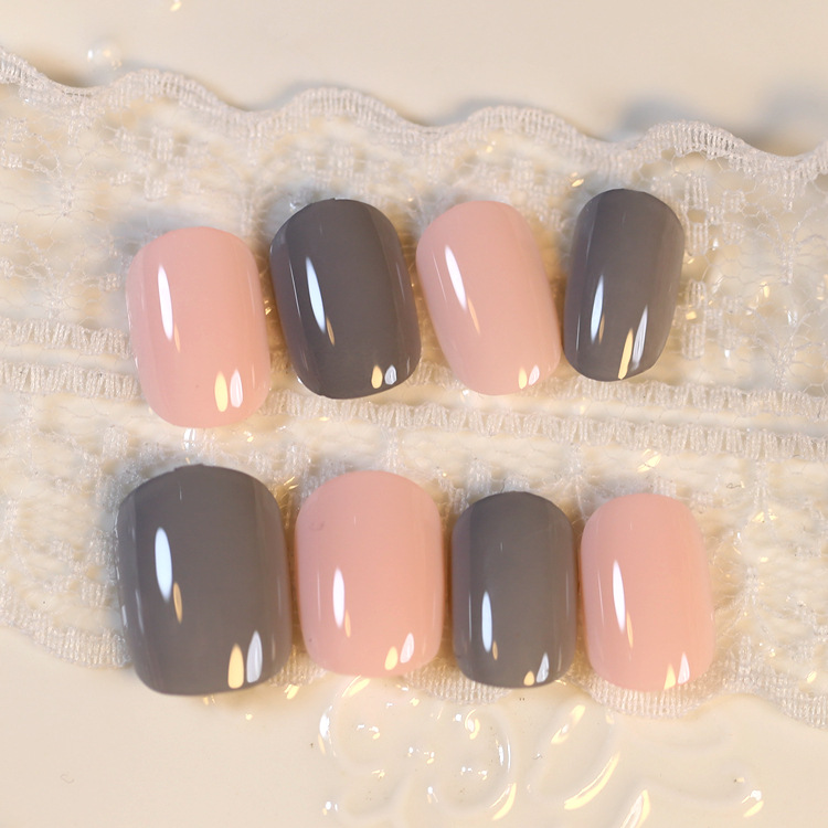 №Hot Candy 24 Pcs Orange Grey Fake Nails Oval Short Artificial Nails ...