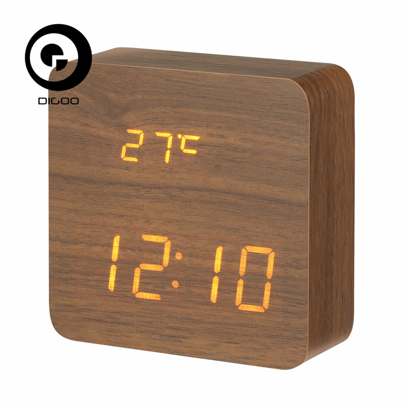 Digoo DG-AC1 AC1 Wooden LED Digital Alarm Clock with Time Temperature and Voice Control Thermometer Calendar USB/AAA novelty run around wake up n catch me digital alarm clock on wheels white 4 aaa