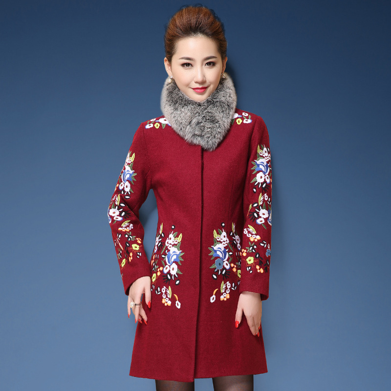 Feminino Long red Plus Chinois Taille De Coat Tranchée Casaco Vintage D'hiver Pour Coat M 5xl Blue Broderie Manteau Laine 2018 Style Femmes rYq5RrO