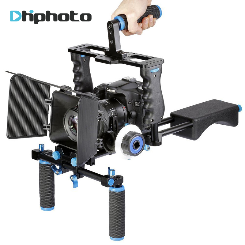 DHphoto Professional DSLR Video Rig Shoulder Camera Stabilizer Matte Box+Follow Focus+Cage for Canon Nikon Sony Camera Camcorder yelangu dslr rig video stabilizer mount rig dslr cage handheld stabilizer for canon nikon sony dslr camera video camcorder