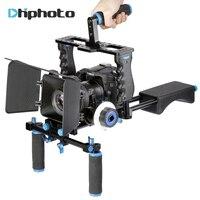 DSLR Video Stabilizer Shoulder Mount Rig Matte Box Follow Focus Cage For Canon 5D Mark III