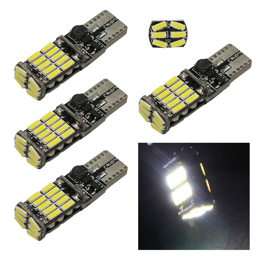 4 x T10 26 4014 smd 600 Lumens White Color W5W 194 168 2825 LED Bulbs used for Signal Lights, Trunk Lights, Parking Lights