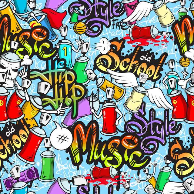 10x10FT Old School Style Hip Hop Graffiti Wall Music Band Custom Photo Studio Backdrop Backgrounds Vinyl
