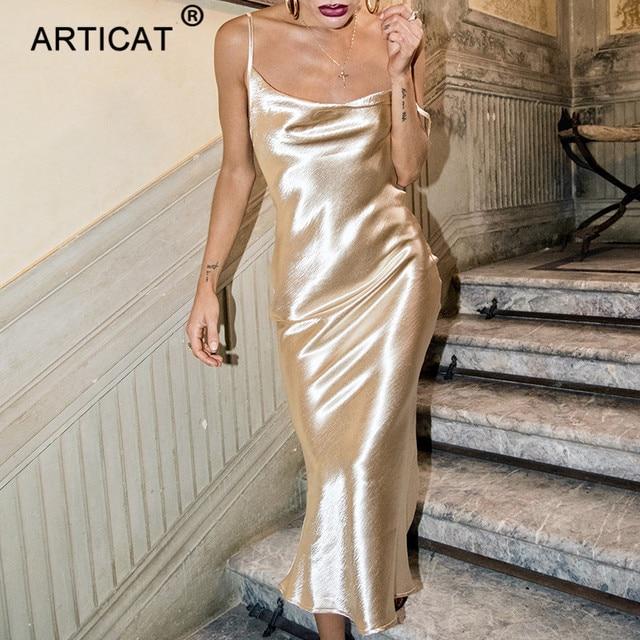 Articat Glod Satin Lace Up Sexy Party Dress Women Strap Backless Silk Long  Dress Elegant Club 417ac88f7aa2