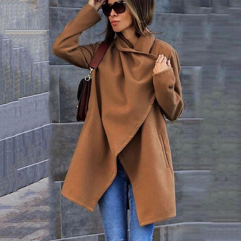 Winter Office Ladies Casual Plus Size Blue Vintage Women Long Overcoats Loose Plain Belt Pockets Autumn Female   Trench   Coats