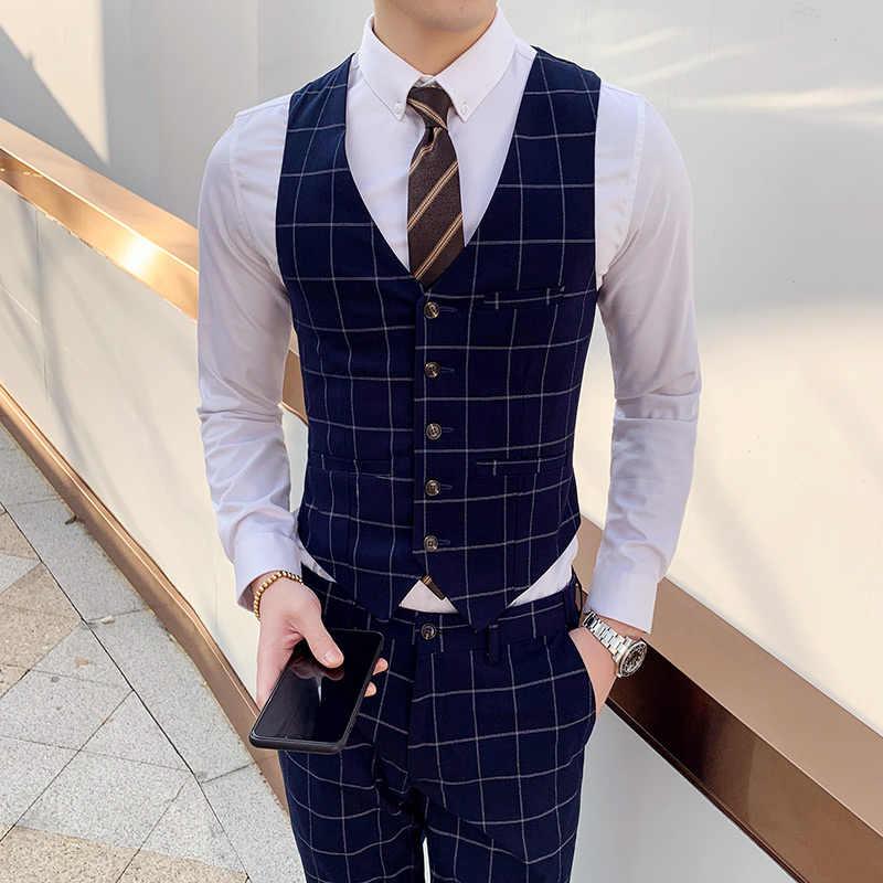 ファッションブランド男性格子縞のスーツベストビジネスウェディングドレスベスト男性スリムフィットカジュアル男性チョッキサイズ S-4XL