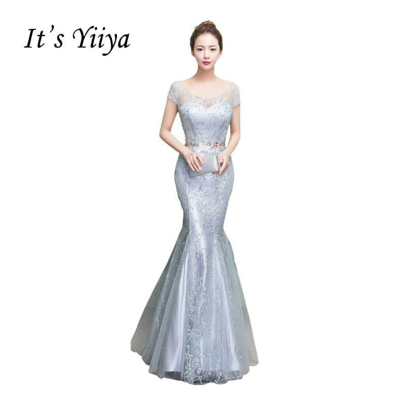 It's YiiYa O-neck Short Sleeves Trumpet Prom <font><b>Dresses</b></font> Simple Sequined Mermaid Floor Length <font><b>Sex</b></font> Luxury Pattern <font><b>Evening</b></font> Gowns X248 image