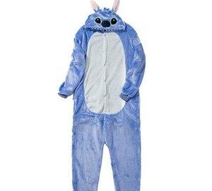 Image 3 - HKSNG zwierząt dorosłych Stitch piżamy wysokiej jakości flanelowe Cartoon śliczne Onesies Cosplay kostiumy kombinezony piżamy Kigurumi